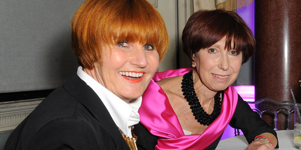 Hilary Craft and Mary Portas in evening dresses