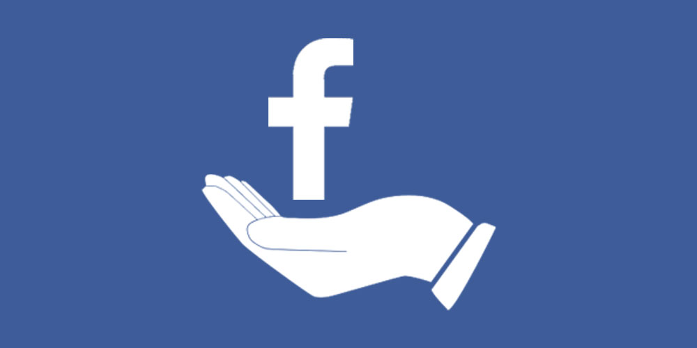 white clip art of hand and facebook f
